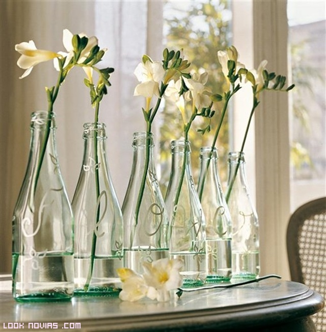 botellas de cristal para mesas