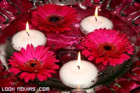 centro de mesas con velas