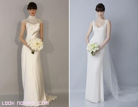novias sencillas con vestidos de raso