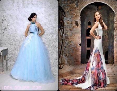 novias con vestidos de colores