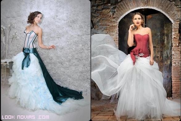 vestidos de novia con cola de colores
