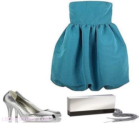 vestido azul moderno para pedida de mano