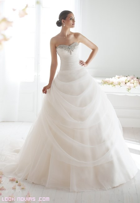 corpiños drapeados para novia