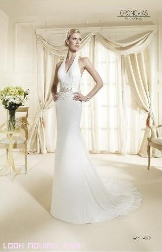 vestidos de novia románticos con pedrería