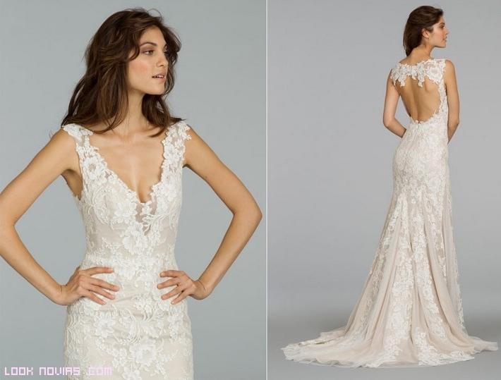 vestidos de organza y encaje para novias