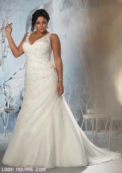 Vestidos blanco para novias gorditas