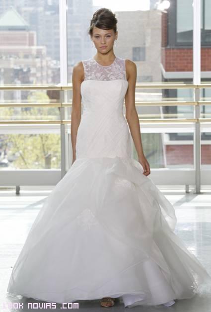 vestidos de novia con encaje y gasa