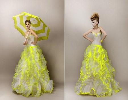 Vestidos de novia en blanco y amarillo