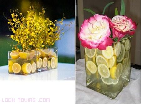 Frutas para decorar las mesas del banquete