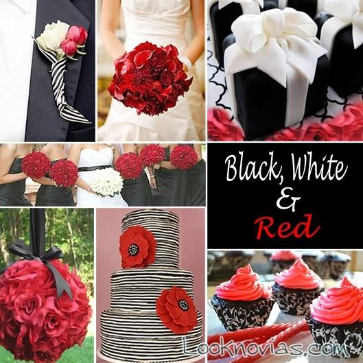 bodas en rojo,blanco y negro