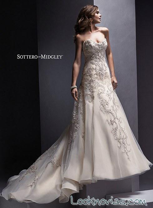 bordados en relieve para un vestido de novia
