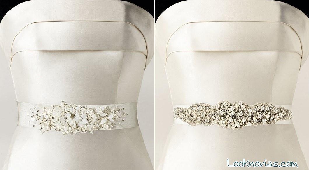 Cinturones en blanco para novias