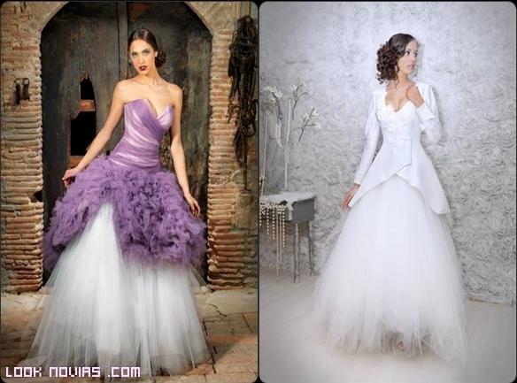 novias con corset de color