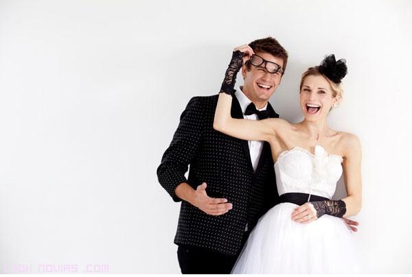 tocados en negro para novias