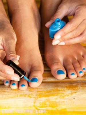 pedicura de color azul