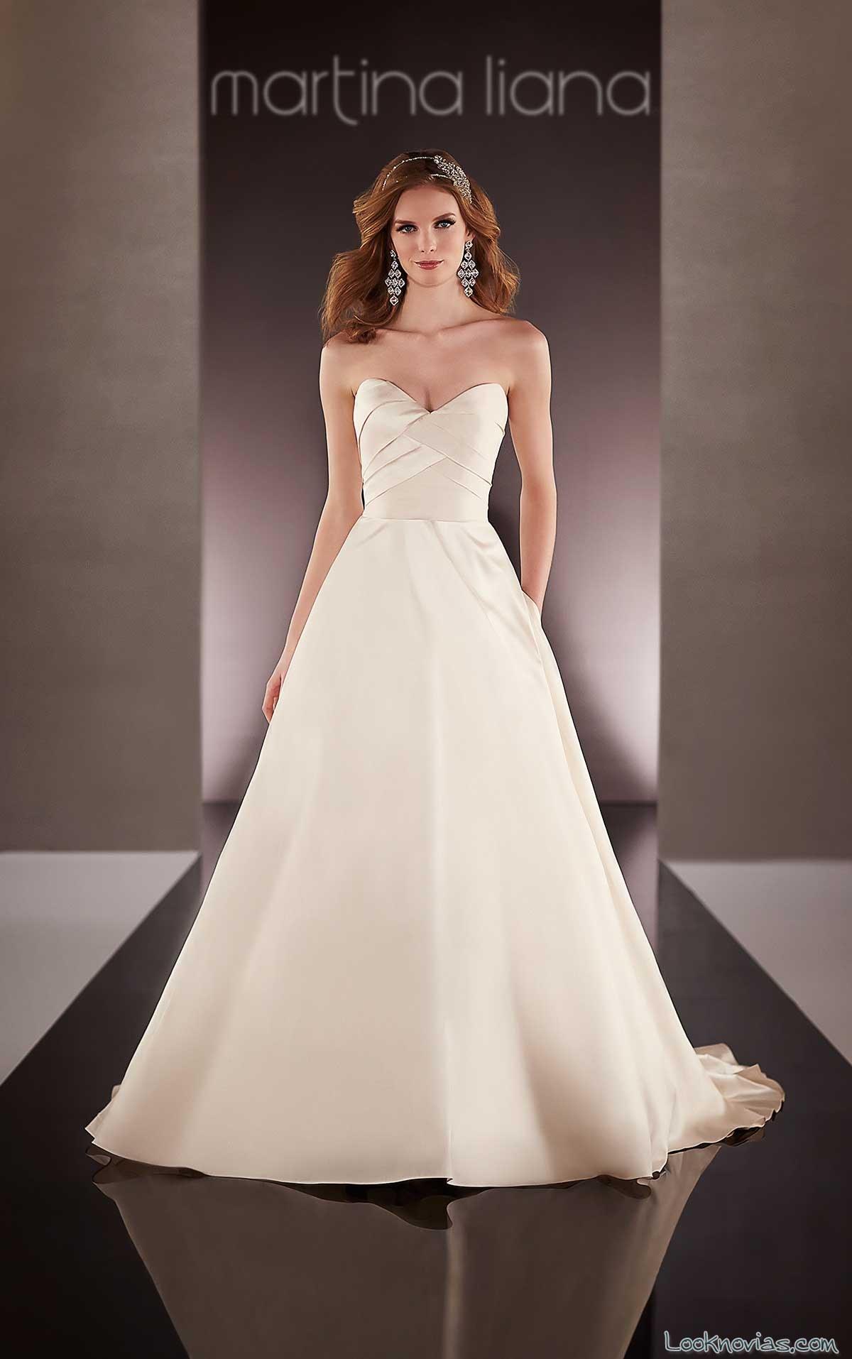 corte cruzado en vestido de novia