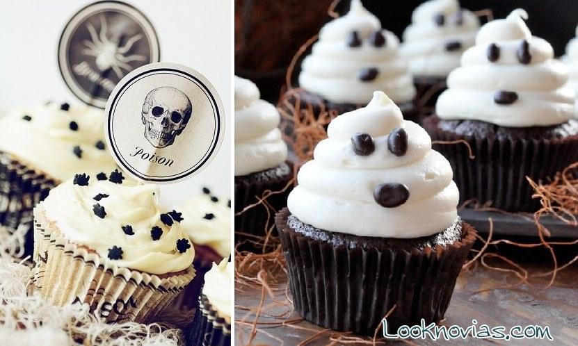 Cupcakes de fantasmas para Halloween