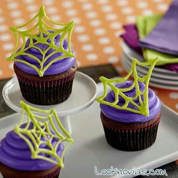 cupcakes telaraña para Halloween