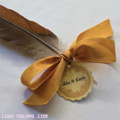plumas con tarjetas de boa