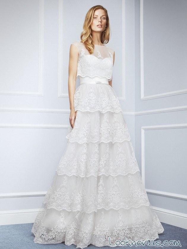 escote fantasía para vestido de novia con volantes