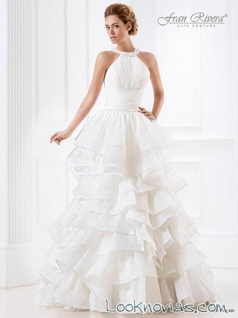 escote halter en vestido de novia fran rivera