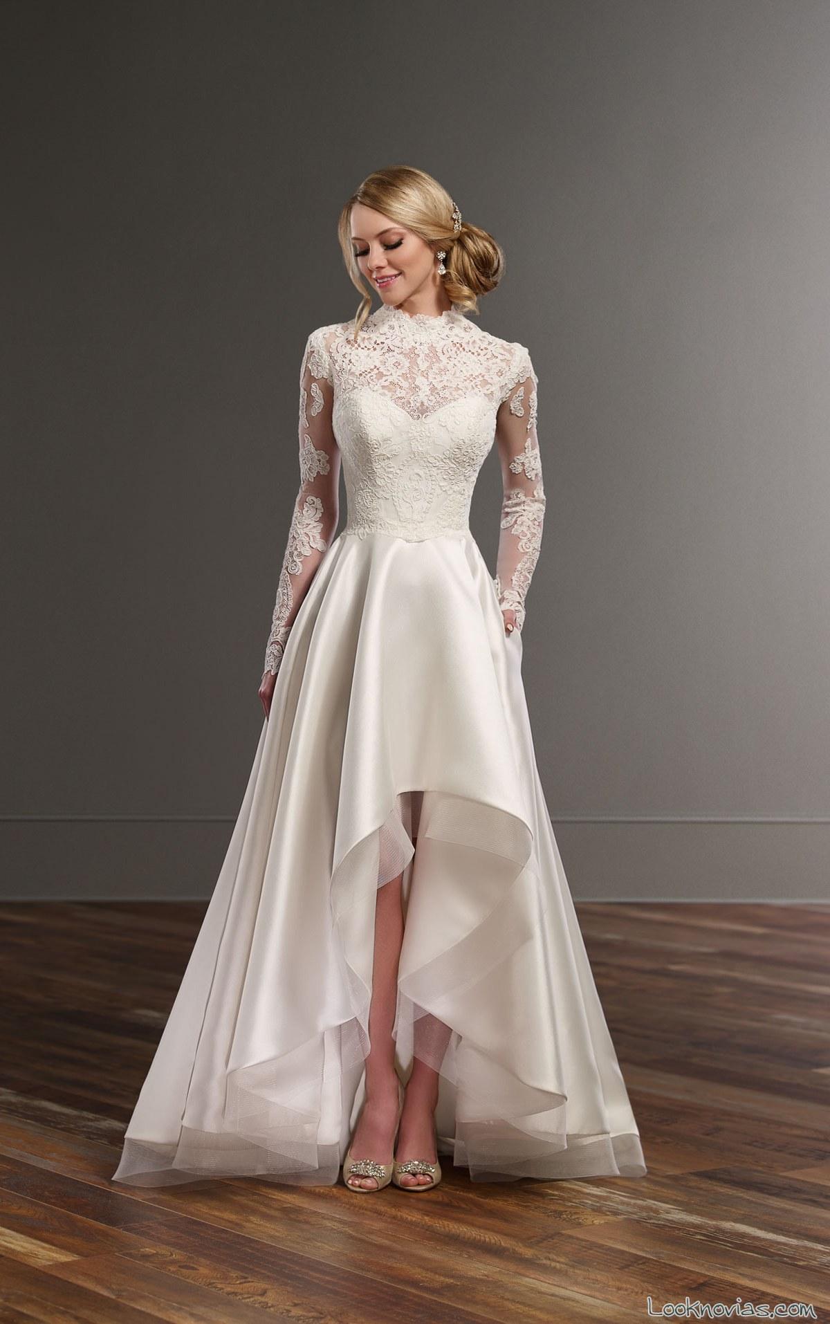 falda asimétrica cuerpo de encajes para novias