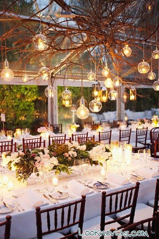 iluminación de boda al aire libre