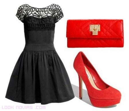 vestido negro y complementos rojos para boda