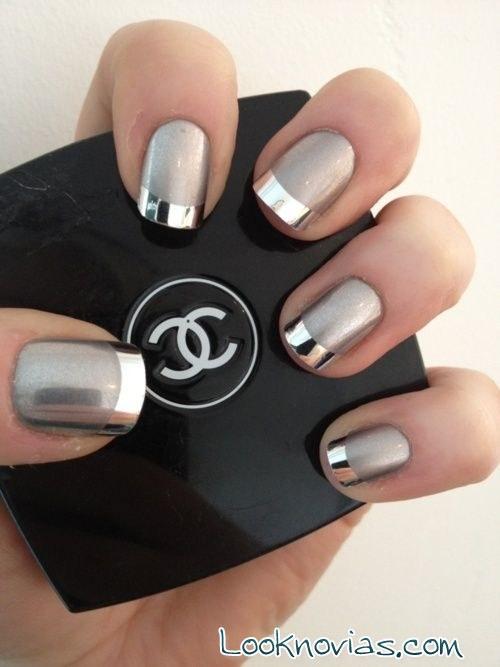 manicura francesa metalizada