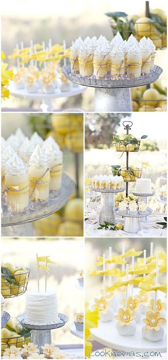 mesa de dulces en color amarillo para boda