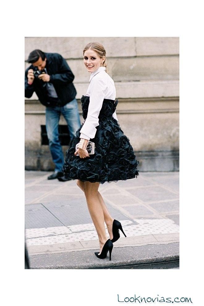 Olivia Palermo vestido blanco y negro