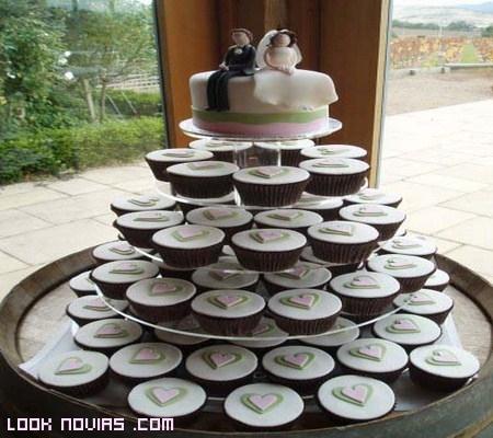 cupcakes de corazones para bodas