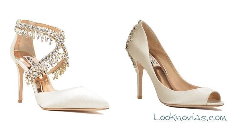 pedrería en los zapatos de novia badgley mischka