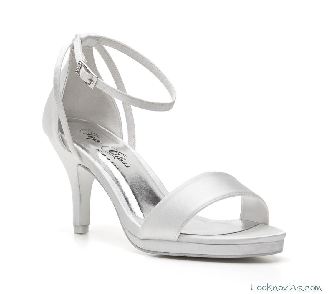 sandalias de tacón bajo para novias