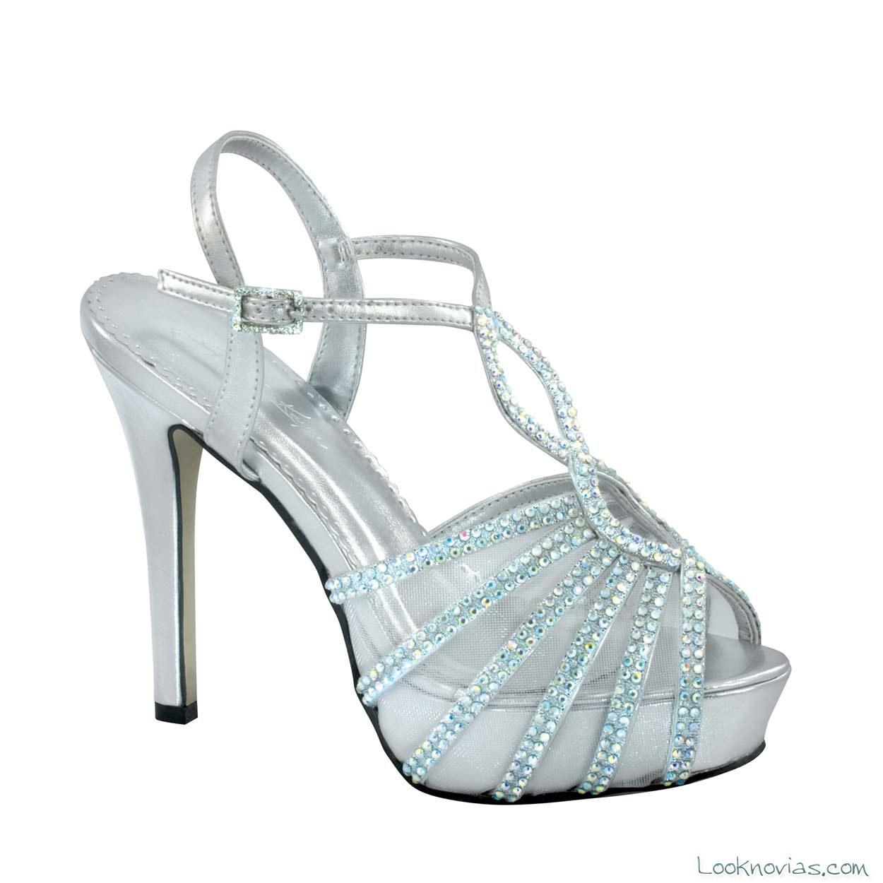 sandalias novias tacón plata