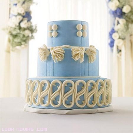 pasteles en azul y blanco