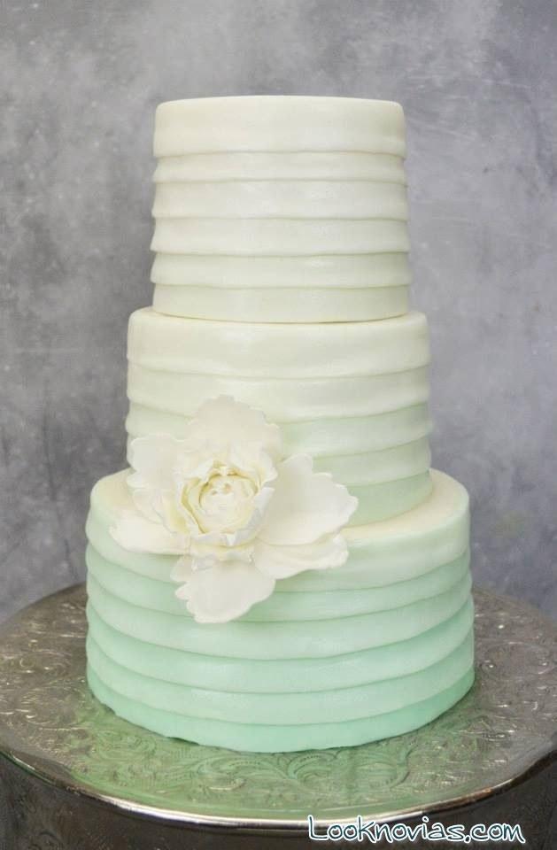 tarta de boda degradé en verde