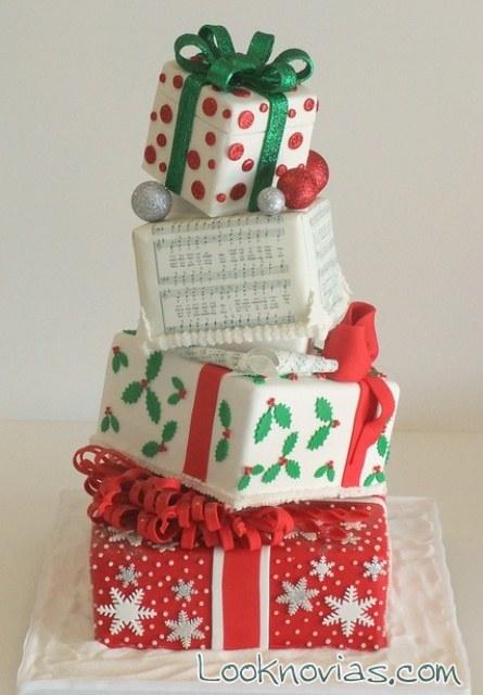 tarta de boda en forma de regalos
