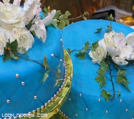 pastel de bodas color azul