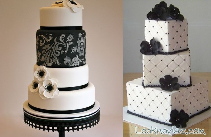 tartas de boda bicolor