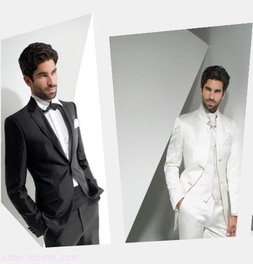 trajes blancos para novios modernos