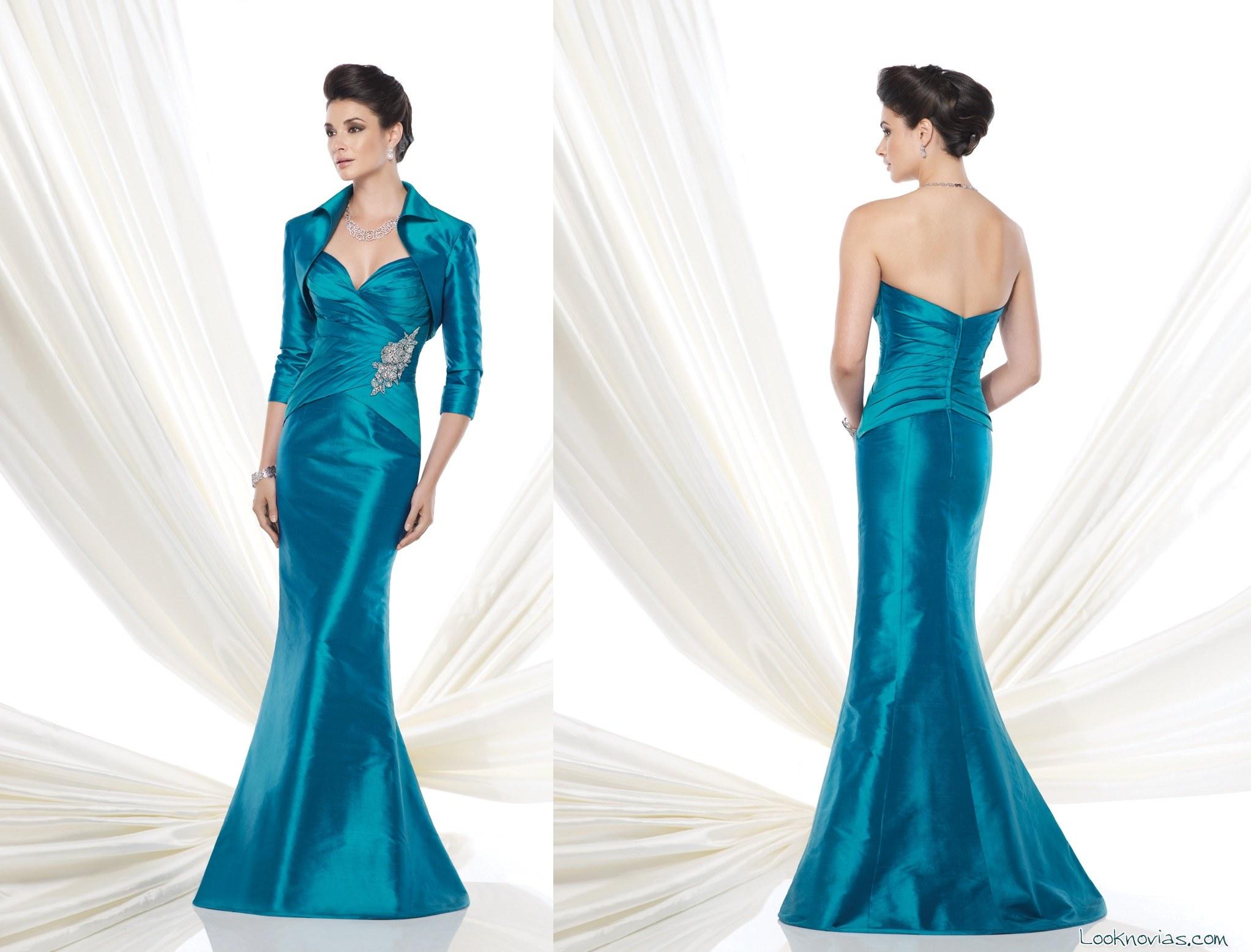 vestido azul para madrina con bolero