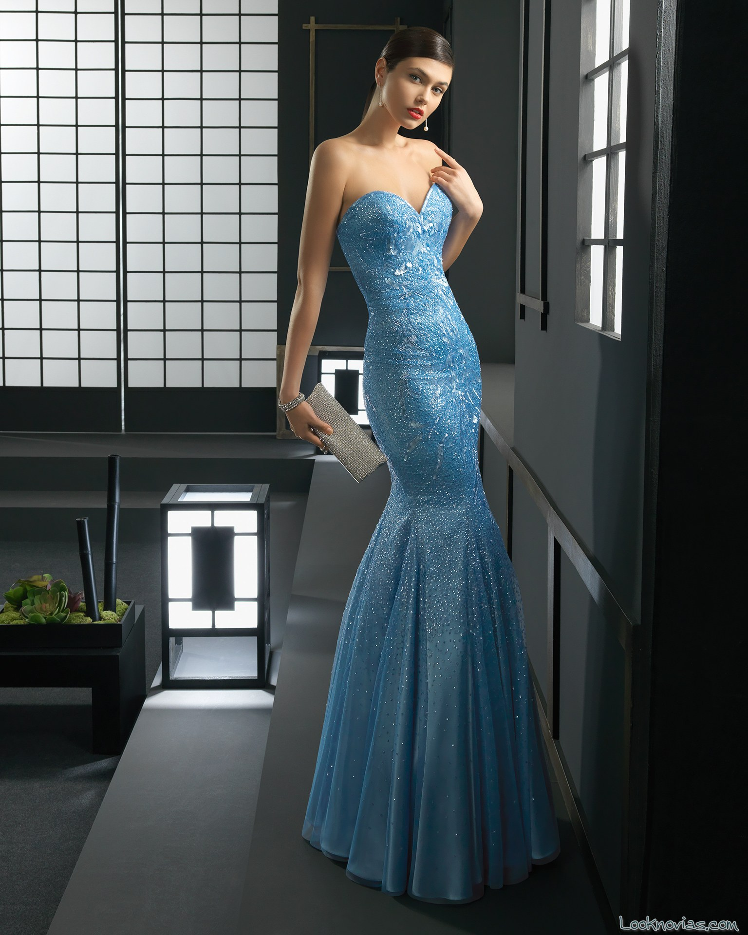 vestido azul rosa clará corte sirena