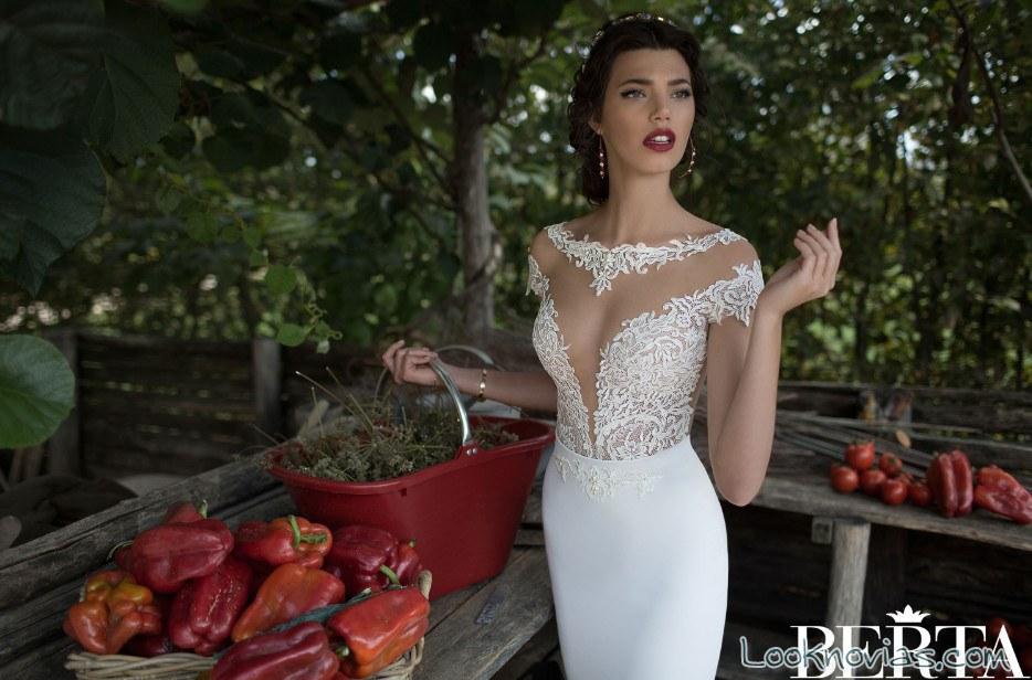 vestido berta bridal con escote delantero