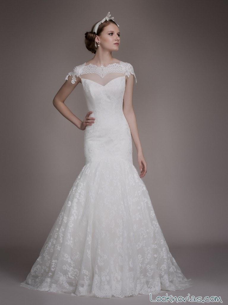vestido blancary corte sirena encajes varios