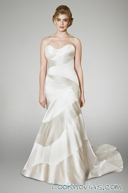 vestido blanco combinación de tejidos novias christopher