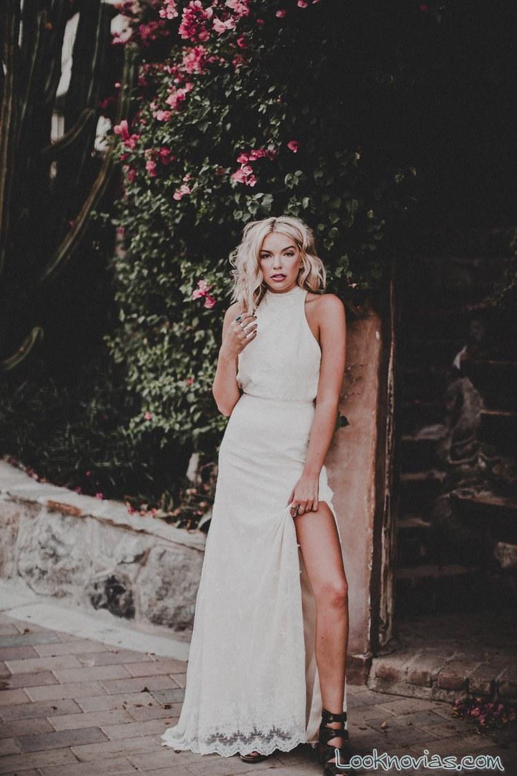 vestido blanco con abertura para novias 2017