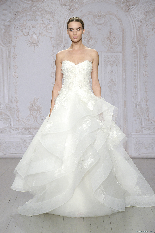 vestido blanco con volantes de monique l´huillier