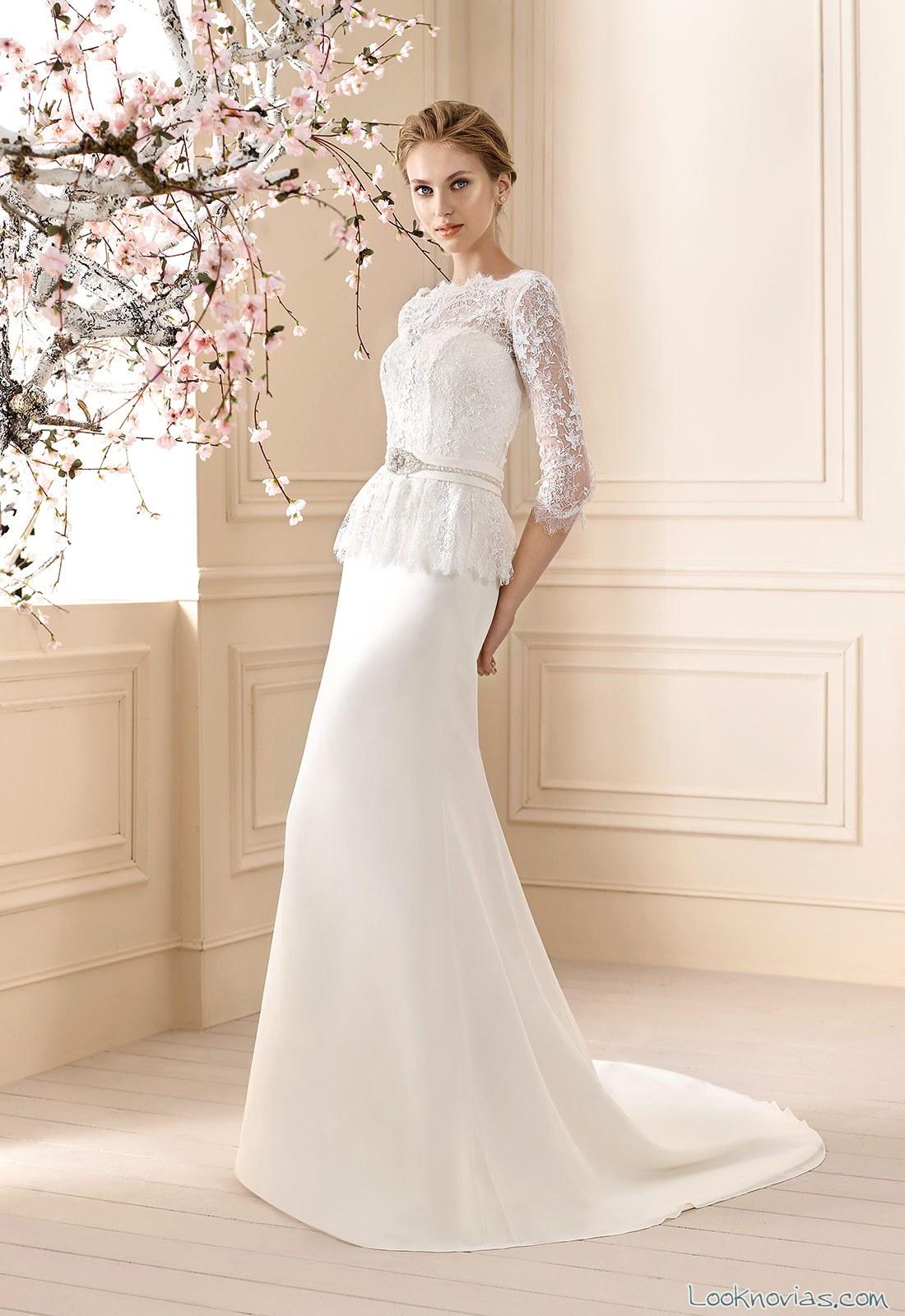 vestido blanco corte peplum de cabotine