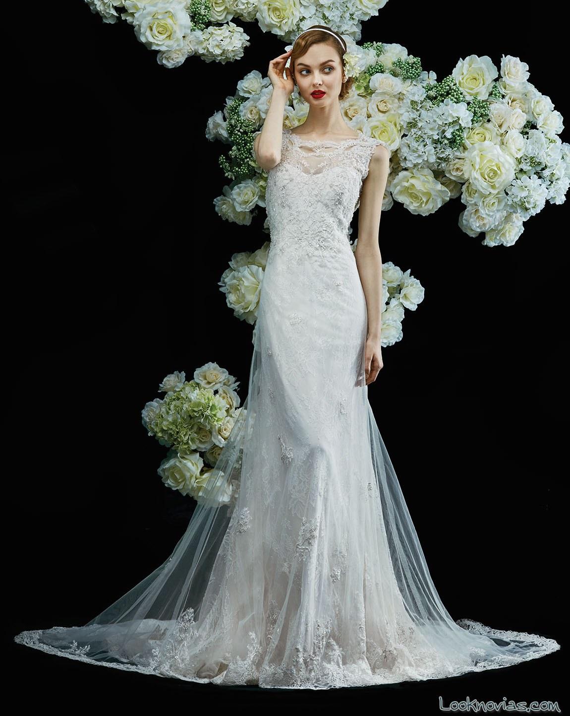 vestido blanco de novia con encajes annasuly